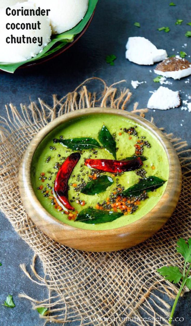 This green Coriander Coconut Chutney made with freshly grated coconut and fresh coriander/cilantro leaves is a delicious accompaniment for idli, dosa's, uttapam, vadas. Idli, Dosa and the likes are seriously incomplete without sides such as sambhar, chutneys, and podi. This is a very basic variation of the many existing coconut chutneys and a very simple one, to say the least. You just need grated coconut and coriander leaves as the main ingredients, the remainder of the ingredients ...
