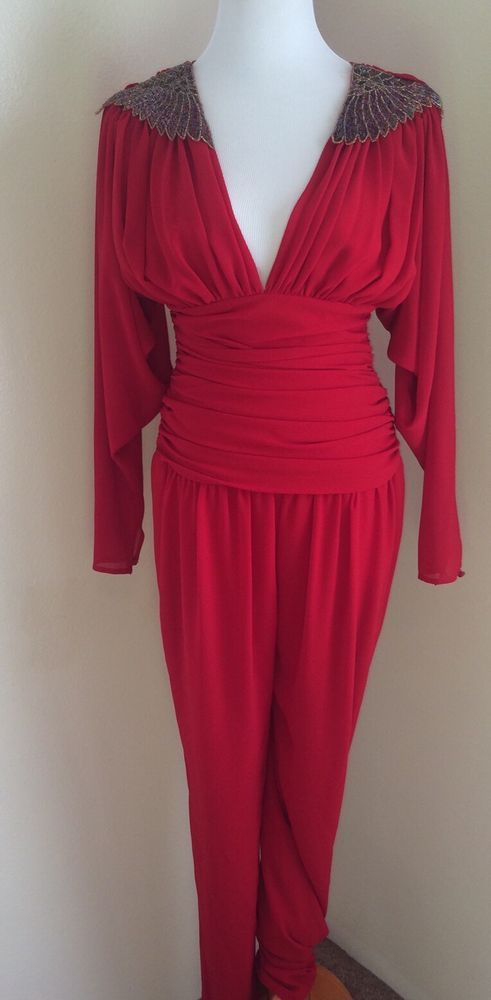 Vtg Casadei 1982 Rouched Playsuit Beaded Shoulders Red Club Disco Art Retro 80s #Casadei