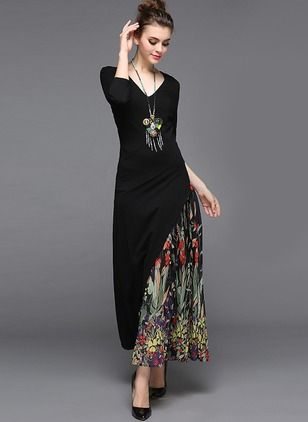 Polyester Floral 1033009/1033009 Sleeves Maxi Elegant Dresses (1033009) @ floryday.com