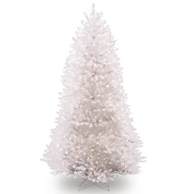 "Dunhill White Fir 90"" Hinged Tree with 750 Clear Lights"
