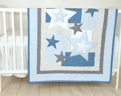 Manta del bebé de la estrella, azul manta edredón gris, estrellas cuna cama