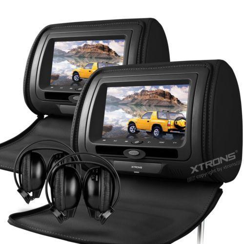 2x7 Подголовник автомобиля Dvd-плеер Цифровой ЖК-Экран Игры Подголовник Монитор DVD USB ИК/FM Zip Обложка + 2 шт. ИК-Наушники Черный