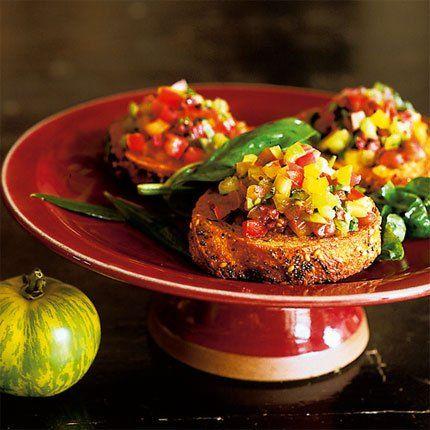 Tartine à l'huile d'olive au tartare de tomate