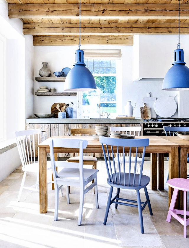 pendant lamps and mismatched chairs
