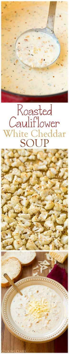 "Recipe for Cauliflower Soup Roasted Cauliflower White Cheddar Soup ""- this soup is AMAZING! So full of delicious flavors."" Comments: ""Cauliflower is such an under appreciated food! This looks delicious and I can't wait to try it! THIS LOOKS AMAZING!!! I will try it someday!!! I prepared this recipe sans cow milk and wheat flour, the flavours still blended well and made this soup very tasty. Trying this for dinner, with a wilted spinach salad on the side. Yummy!!!! I added a little white…"