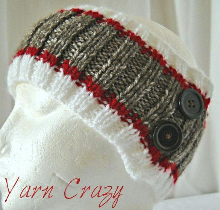 Sock Monkey Ribbed Knitted Ear Warmer | Craftsy
