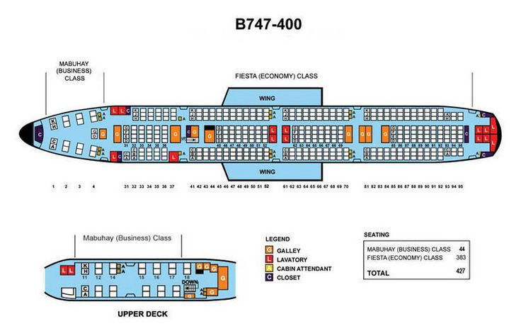 philippine airlines boeing 747 400 427 seats aircraft seating