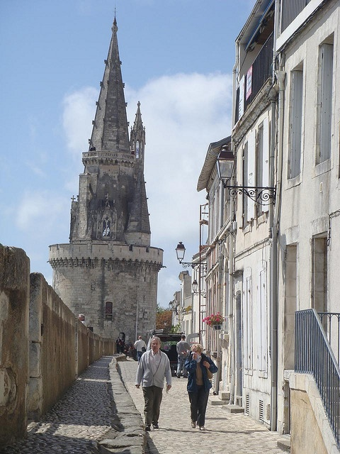 La Rochelle. Walking the walls towards the delights of the old town. September 2013 we did it several times.