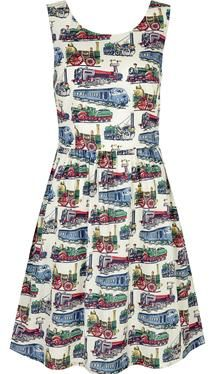 This classic cotton dress is a summer essential, great for holidays or day-to-day wear. It has a flattering fitted waist and voluminous skirt for a feminine shape, and the Train print is perfect for a quintessentially British look.