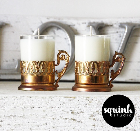 Squink Studio's Vintage Turkish Tea Glass Candles!