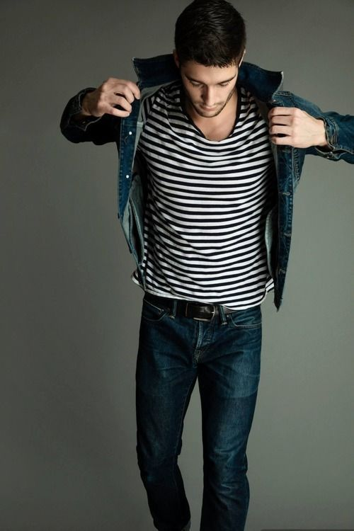 Shop this look on Lookastic:  http://lookastic.com/men/looks/navy-denim-jacket-white-and-black-crew-neck-t-shirt-black-belt-navy-jeans/9607  — Navy Denim Jacket  — White and Black Horizontal Striped Crew-neck T-shirt  — Black Leather Belt  — Navy Jeans