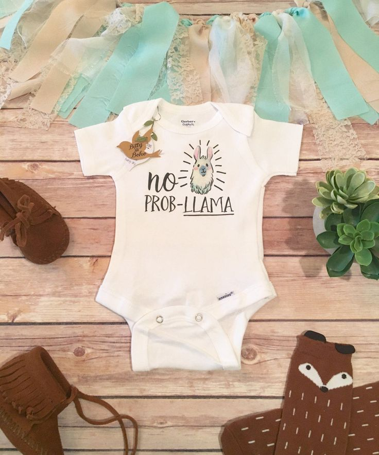 "No Prob-Llama! Adorable unisex hipster baby bodysuit (or T-Shirt) with adorable watercolor style llama with decorative accents and ""No Prob-Llama"" printed across the front. Perfect for your newest lit"