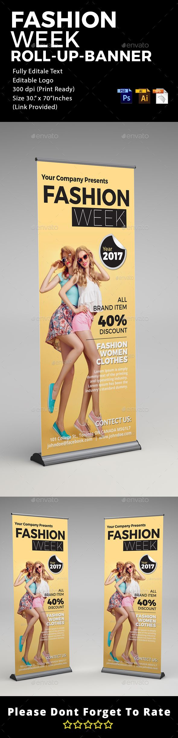 Fashion - Roll Up Banner Signage by mischievousdesigns Fashion – Roll Up Banner Signage Template. This layout is suitable for any business. Very easy to use and customize. ............