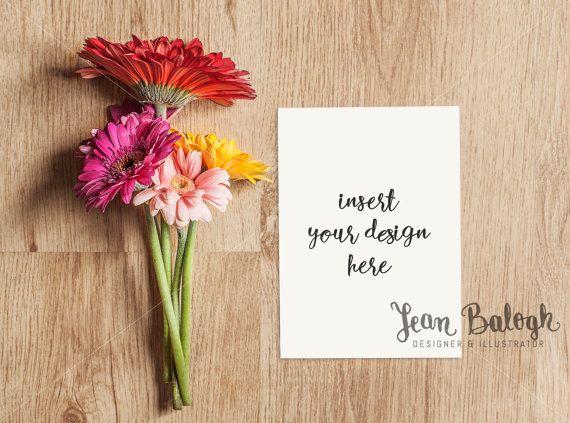 Vertical Invitation Card/Print Mockup With Gerbera by JeanBalogh
