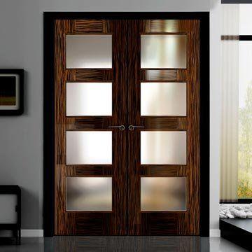 Sanrafael Lisa Glazed Double Door - L3VA4 Style High Gloss Recon Ebony Prefinished. #glazeddoors #internaldoubledoors #internaldoors