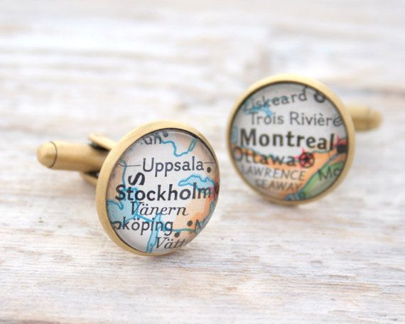 Map Cufflinks Personalized Golden Colour Cuff Links Men Accessories Custom Map Jewelry Made to order Mens Cufflinks Bronze Anniversary Gift