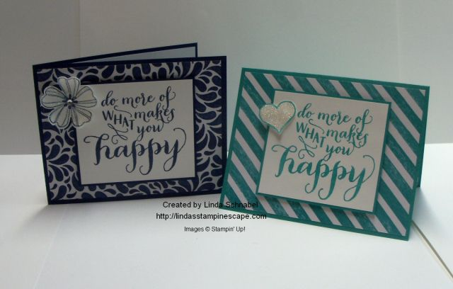 Hello Life and Flower Shop stamp sets by Stampin' Up! are teamed up with the Birthday Bash Designer Series paper to show you how a simple layout can look so different just by swapping out a design pattern or embellishment. Do more of what makes you happy & stamp today! http://lindasstampinescape.com