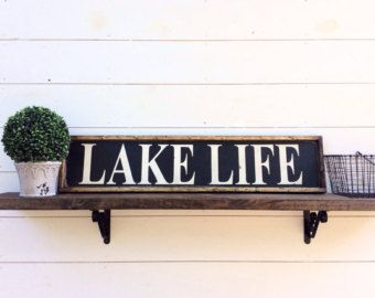 Handmade signs What happens at the Lake by PeaceLoveFunkyJunk