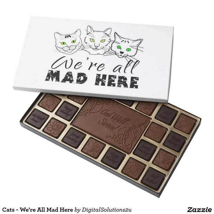 Cats We're All Mad Here 45 Piece Box Of Chocolates