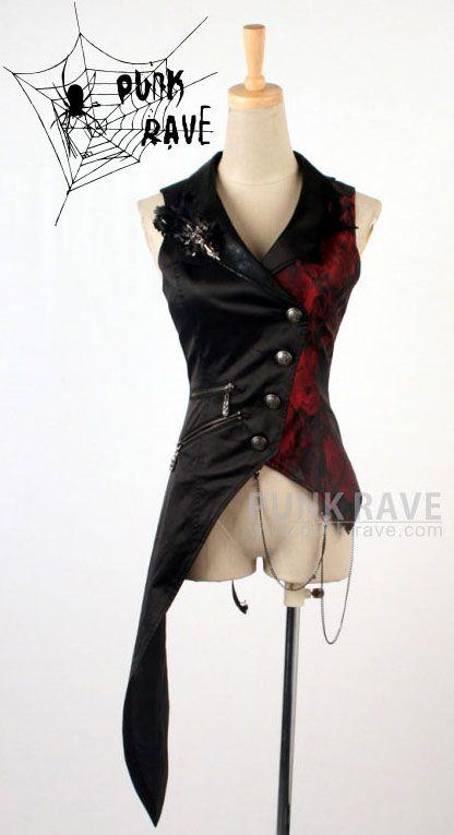 Veste noire sans manche et côté rouge avec pan et corsage Y-330