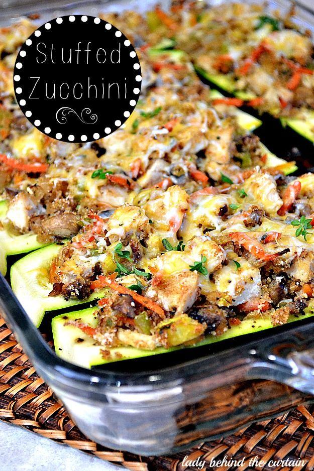 Looks fantastic, loaded with veggies!! Stuffed Zucchini via Lady Behind The Curtain