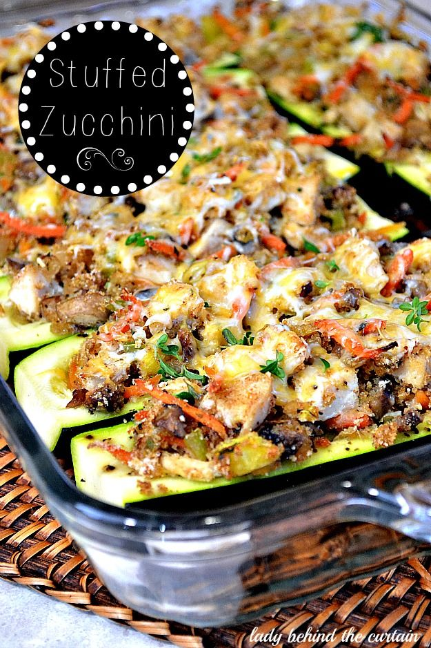 Looks fantastic, loaded with veggies!! Stuffed Zucchini via Lady Behind The Curtain - sub Extra Firm Tofu for Chicken