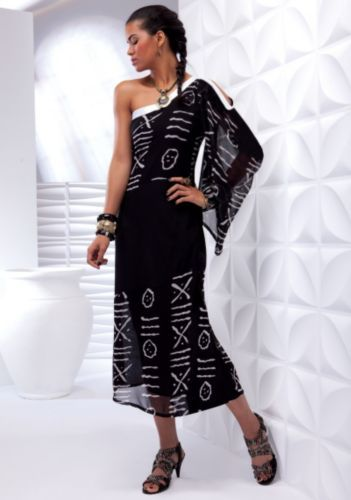 Printing Dress Dq640 White Satin