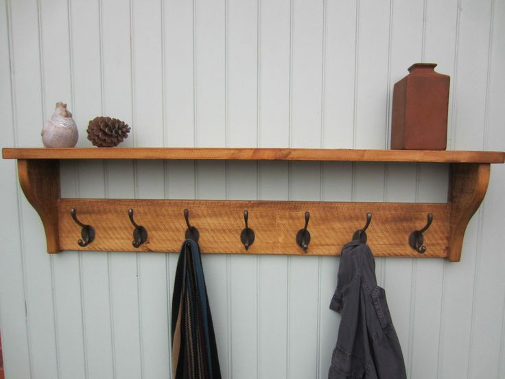 Rustic Pine HAT Coat Rack Shelf 2 3 4 5 6 7 Hooks Also IN Shabby Chic White | eBay