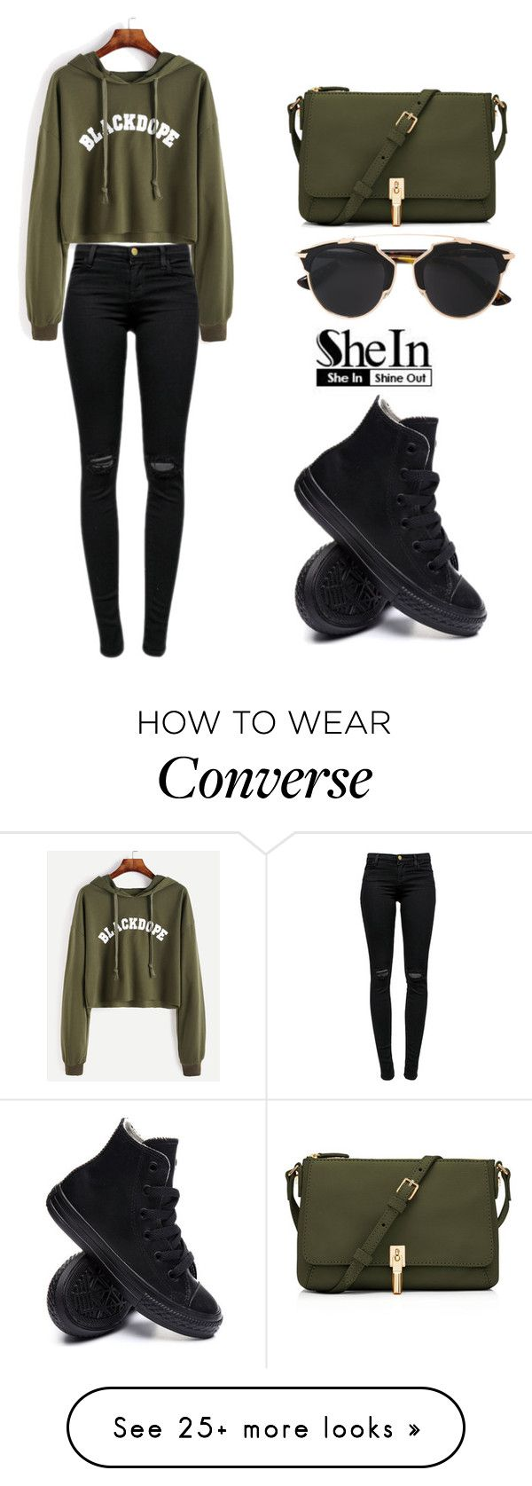"""SHEIN Sweatshirt"" by tania-alves on Polyvore featuring J Brand, Converse, Elizabeth and James and Christian Dior"