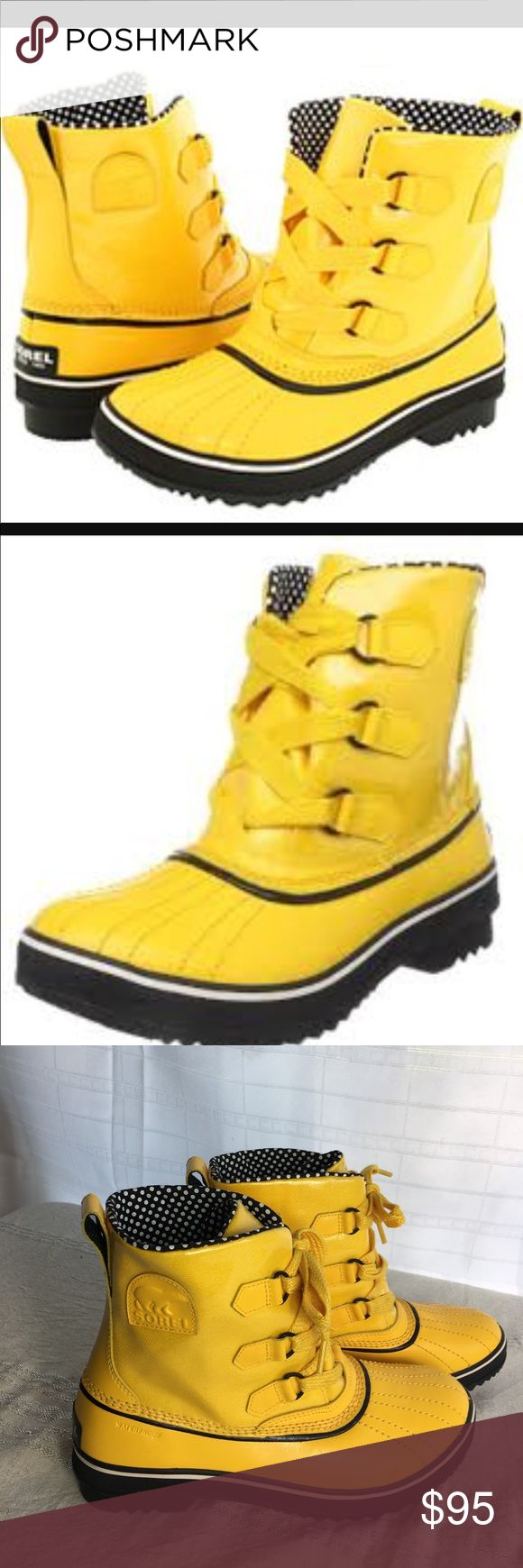 Sorel Tivoli Yellow Polka Dot Rain Boots- Unicorn Super hard to find yellow Tivoli leather & coated canvas rain boot.  Polka dotted inside...worn once.  Like new condition except for a few smudges on one shoelace. Sorel Shoes Winter & Rain Boots