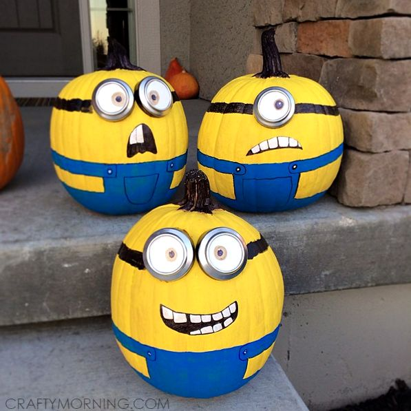 make no carve minion pumpkins from the movie despicable me it is so fun painting them and they are great for a halloween decoration
