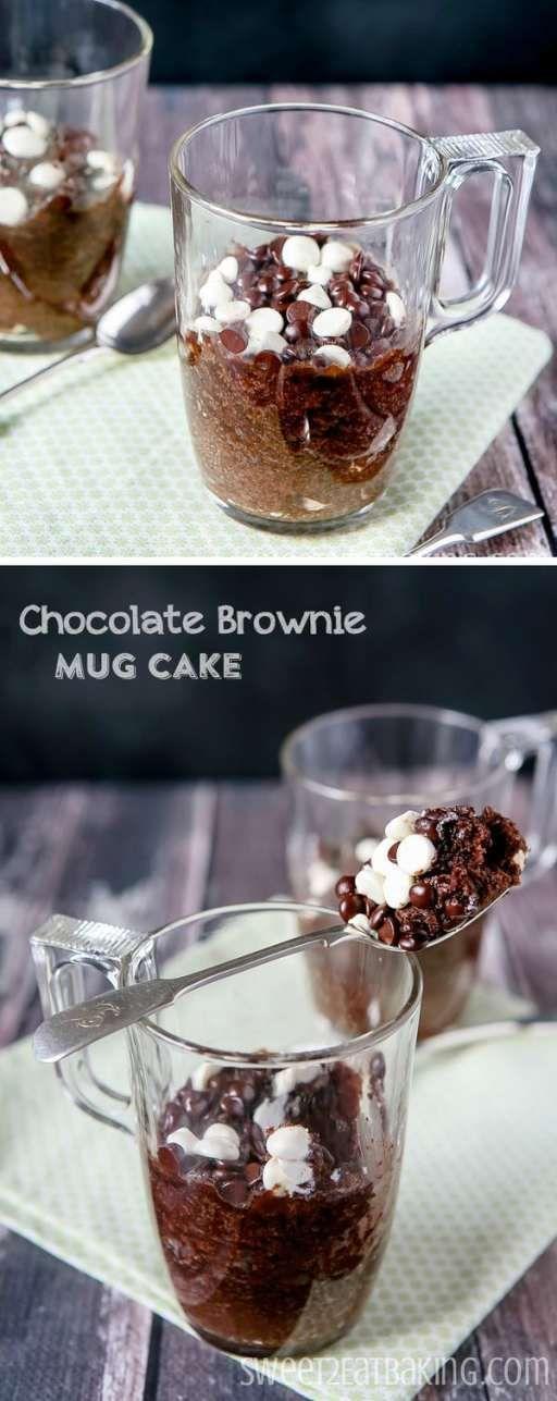 Fudgy Chocolate Brownie Mug Cake Recipe by Sweet2EatBaking.com