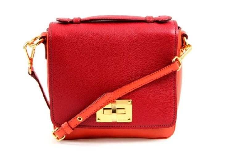 Miu Miu Red & Orange Leather Gold Turn Lock Crossbody Flap Bag #MiuMiu #MessengerCrossBody