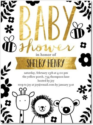 Love the whole black and gold theme! Modern animals are a plus. Penned Pals - Baby Shower Invitations in Black | Ann Kelle