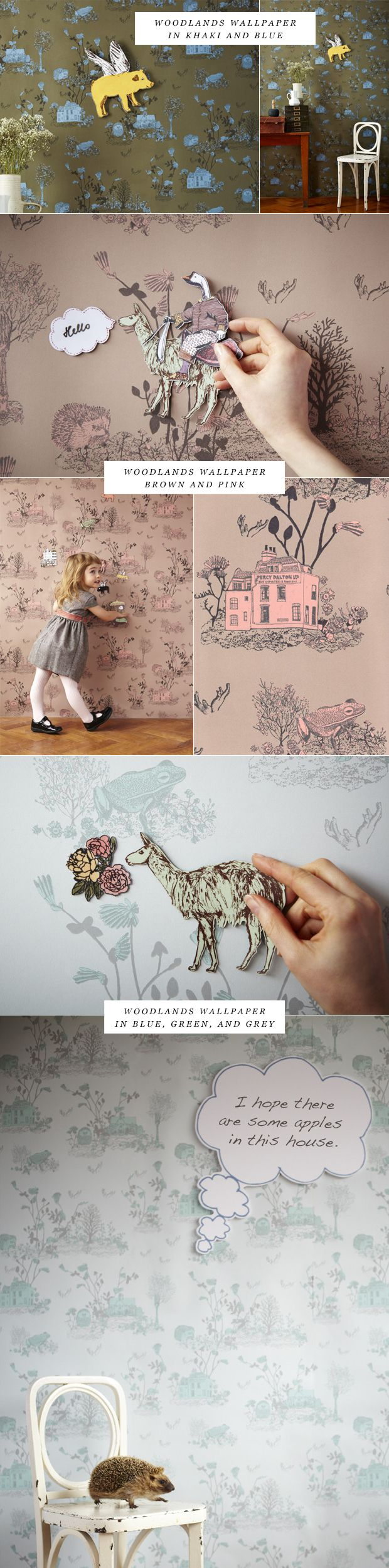 // magnetic wallpaper... a playground on the walls. I always made up stories about the scenes on my bedroom wallpaper.