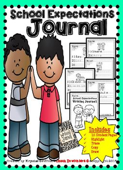School Expectations Writing Journal!! Great for character education, special education students, and struggling writers. Featuring helpful vocabulary for students who are learning about classroom routines and school norms.*********This product available in a bundle***************25 Page Student Journal Each Entry Includes: HighlightTrace Copy Draw