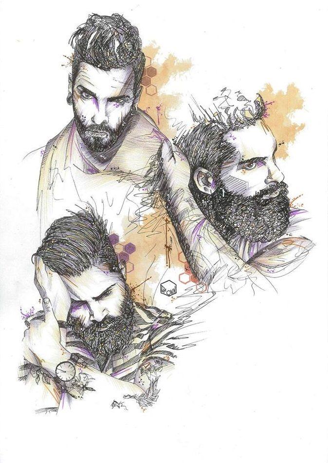 """3 men with beards"" DRONN"