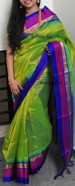 Graced with handwoven pallu, this piece steps back in time showcasing classic intricate pattern and delicate pure zari tapping along the border. Fabric : kanchi