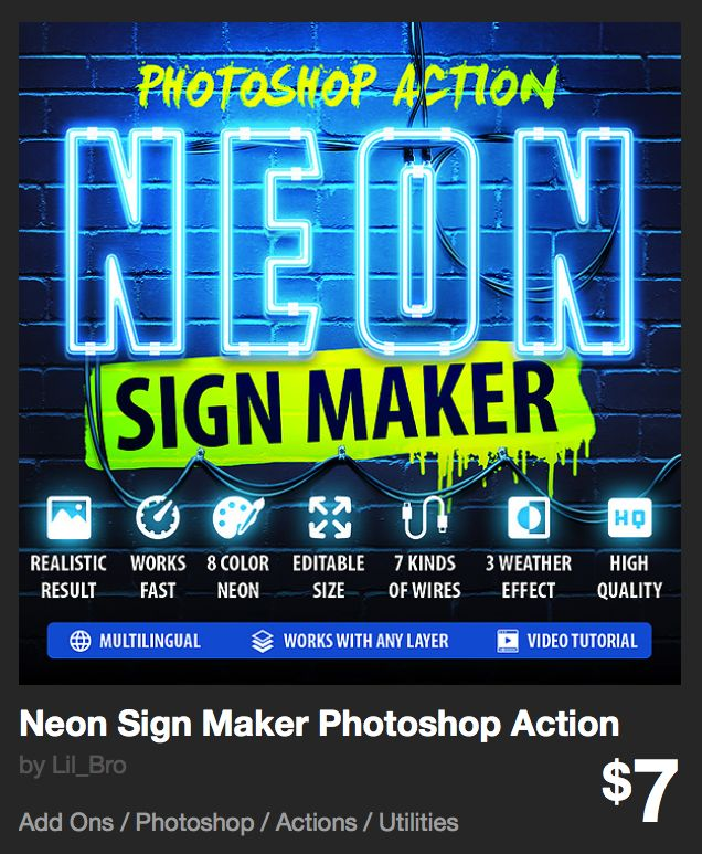 Neon Sign Maker Photoshop Action by Lil_Bro | GraphicRiver