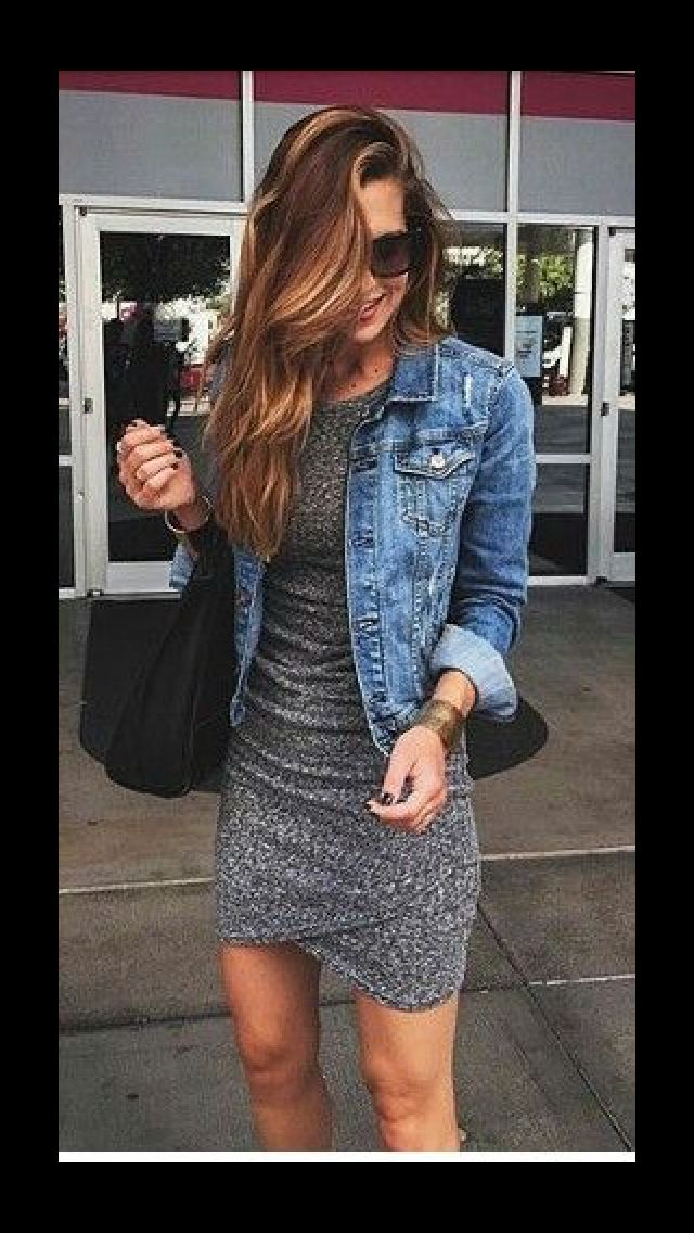 Fitted cotton dress and jean jacket. Fall Fashion Stitch Fix/ Get your own personal stylist for $20!