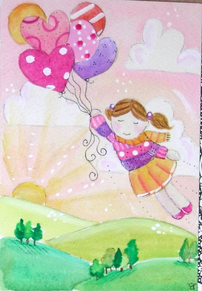 original watercolor 3.5x5- happy little girl balloons sky landscape sunrise