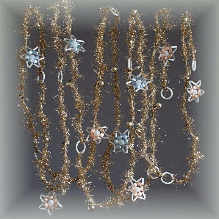 Tinselkette Girlande 280 cm Glasperlen Lauscha Atlas-Gablonz Sterne 1920 TOP | eBay