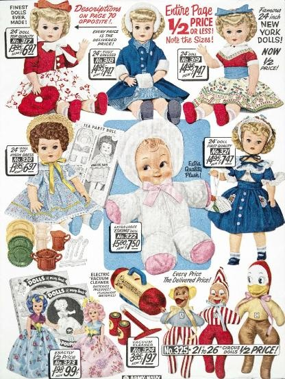 A selection of old fashioned dolls from 1958