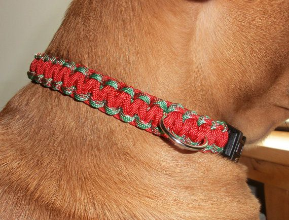 Solomon Paracord Holiday Dog Collar by TandECollarShop on Etsy, $12.00