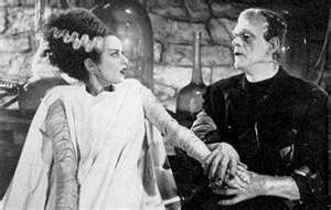 Again, I saw it as a child.  I remember the sad look on his face when the bride screams because she thinks he's ugly.  He knows he will never find love.: Frankenstein Monsters, Brides, The Bride, Bride Of Frankenstein, Horror Film, Horror Movie, Frankenstein 1935, Monsters Mashed, Halloween