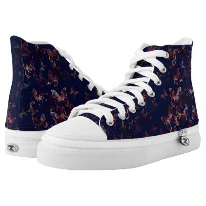 elegant butterfly blue High-Top sneakers - red gifts color style cyo diy personalize unique