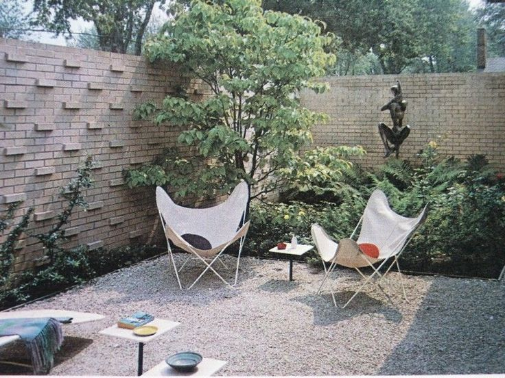 mid century modern landscaping eames era patio outdoor furniture - Mid Century Modern Landscaping