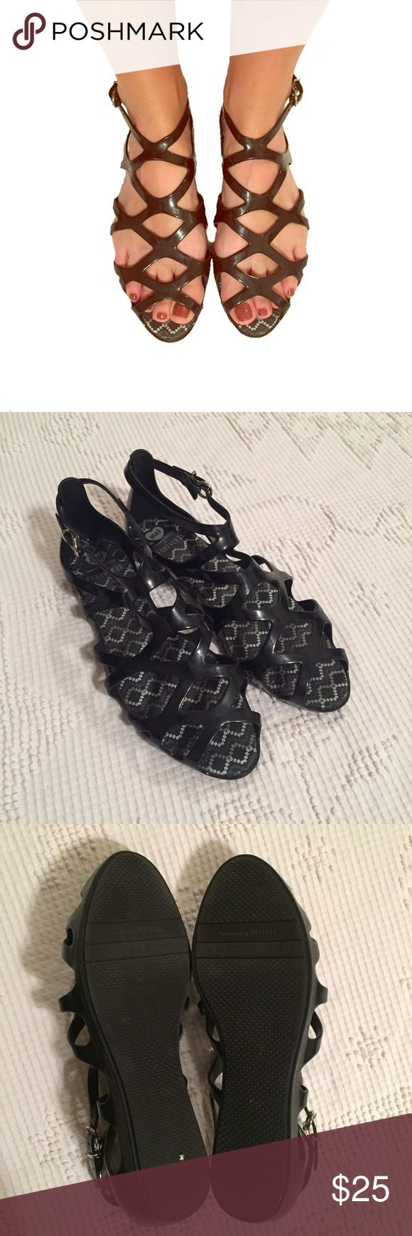 Black jelly sandals forever 21 - Melissa Forever 21 Jelly Gladiator Sandals Black