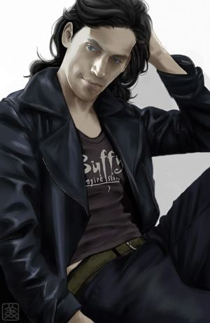 """Thomas Raith  from """"The Dresden Files"""" books, with a Buffy t-shirt.  The irony does not go unnoticed...    ;^)"""