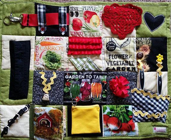 Farm to Table Fidget Blanket Quilt for Dementia Alzheimers